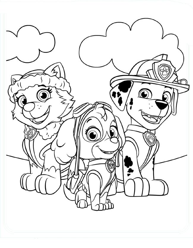 раскраска щенячий патруль распечатать бесплатно онлайн в
