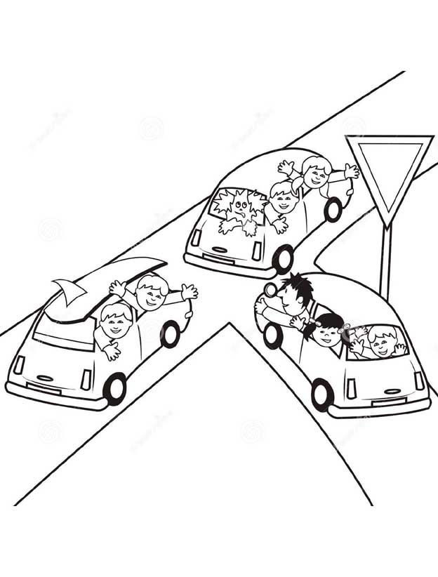 Раскраски Знаки и Правила Дорожного движения