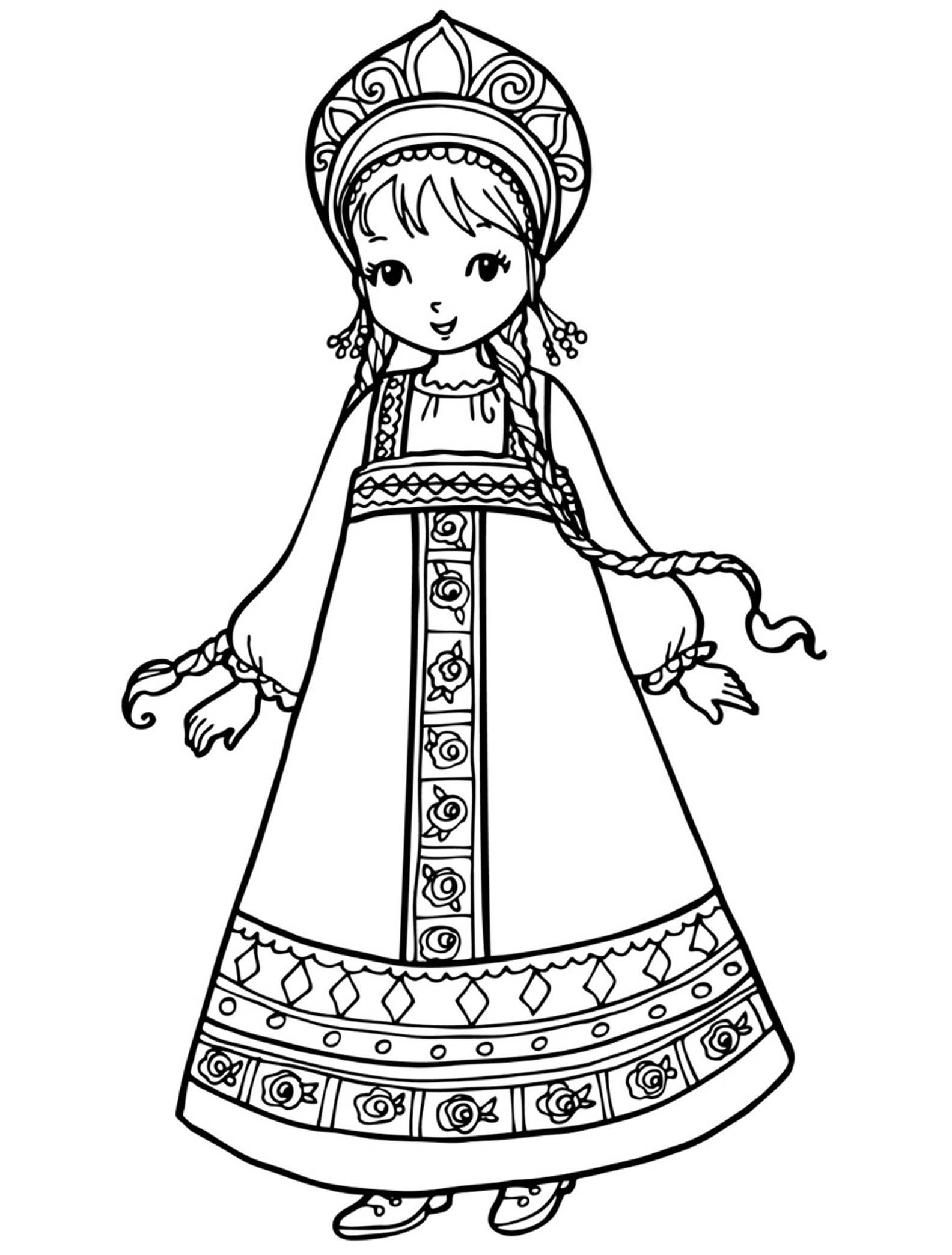 Русский народный костюм раскраски