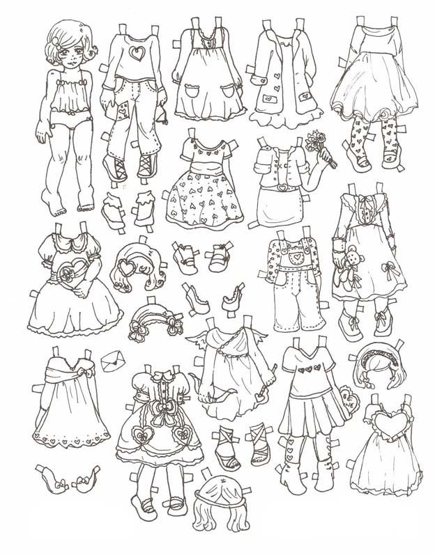 Раскраска куклы в платьях распечатать