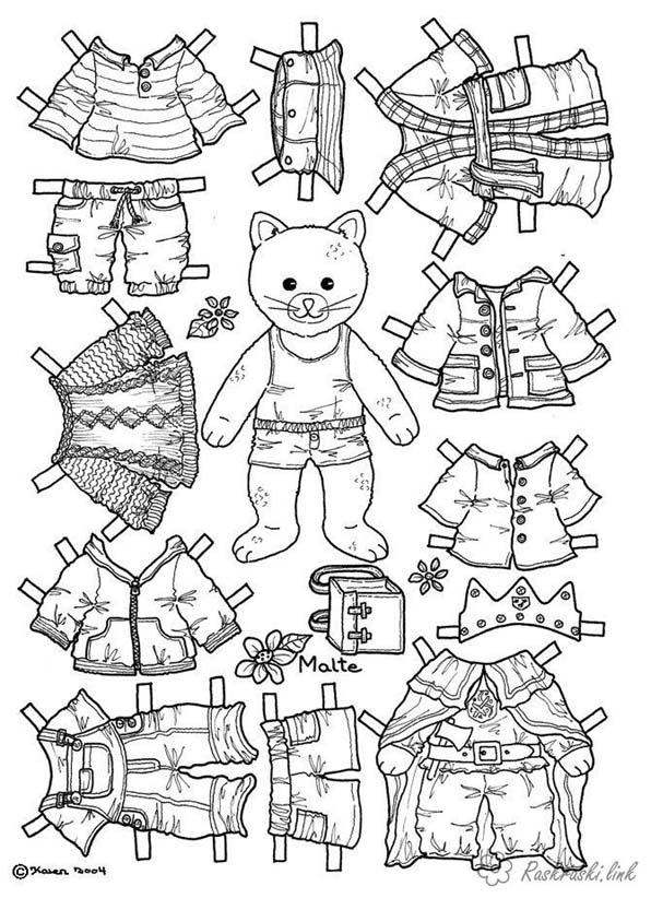 раскраска бумажная кукла с одеждой для вырезания распечатать