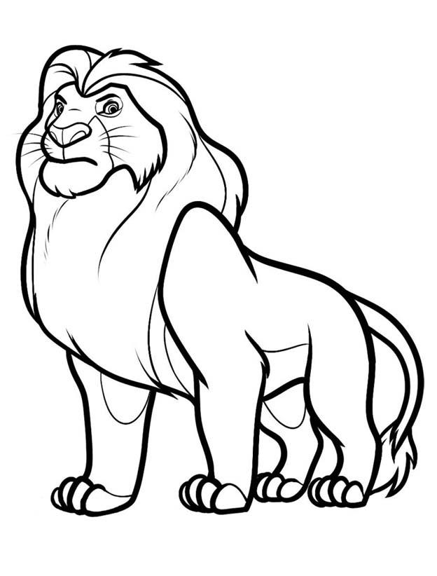 Распечатать раскраски льва