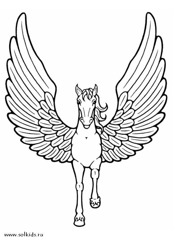 раскраски лошадки с крыльями для детей