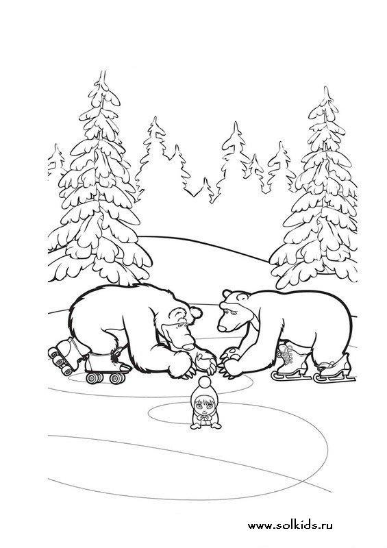 Раскраски маша и медведь раскрашивать