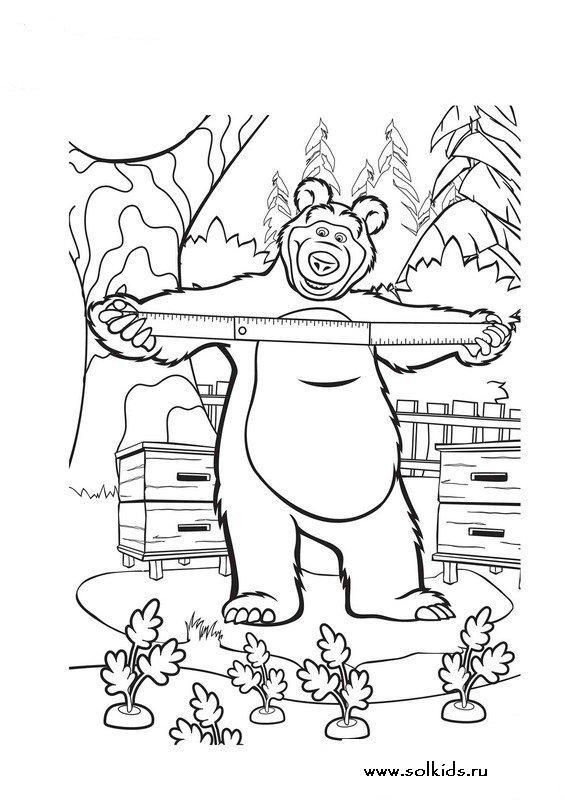 Раскраски Маша и Медведь Летом