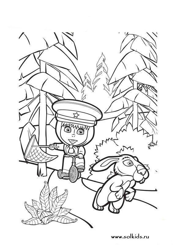 Раскраска мультик Маша и Медведь