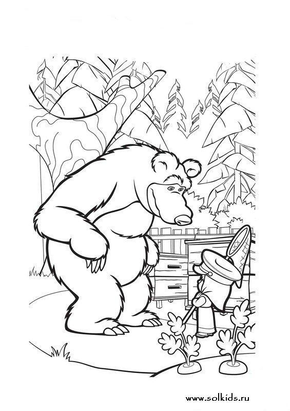 Раскраска рисунок Маша и Медведь