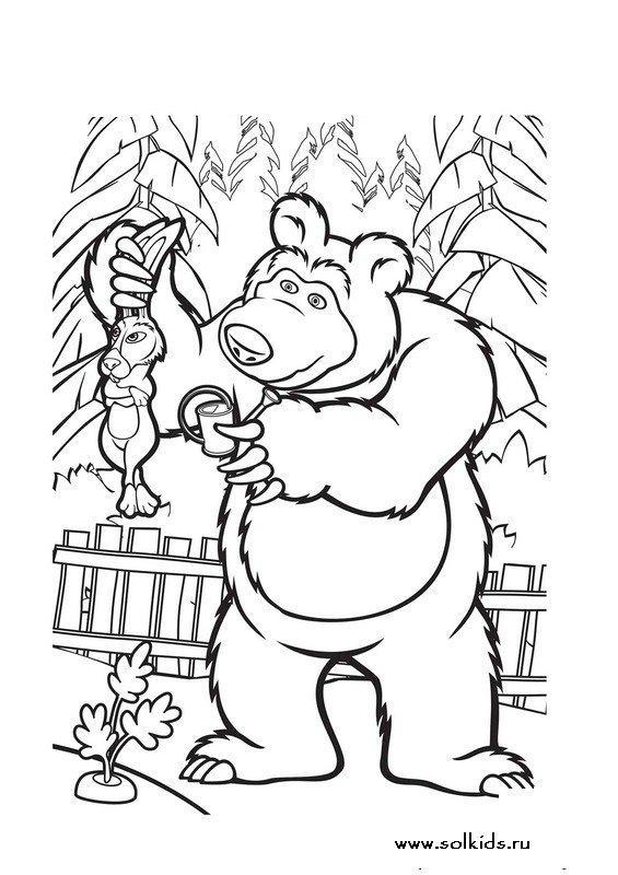 Раскраски маша и медведь распечатать
