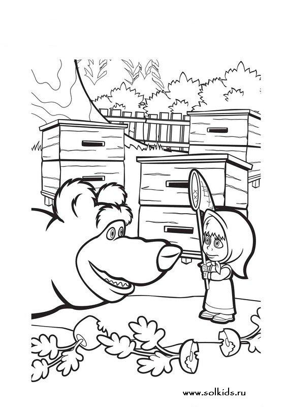 Раскраски Маша и Медведь для девочек
