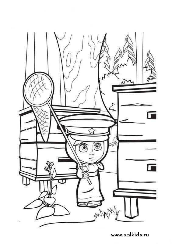 Раскраски Маша и Медведь для детей
