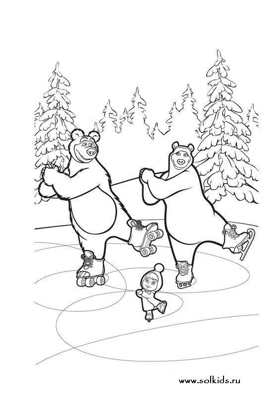 Раскраски Маша и Медведь для маленьких детей