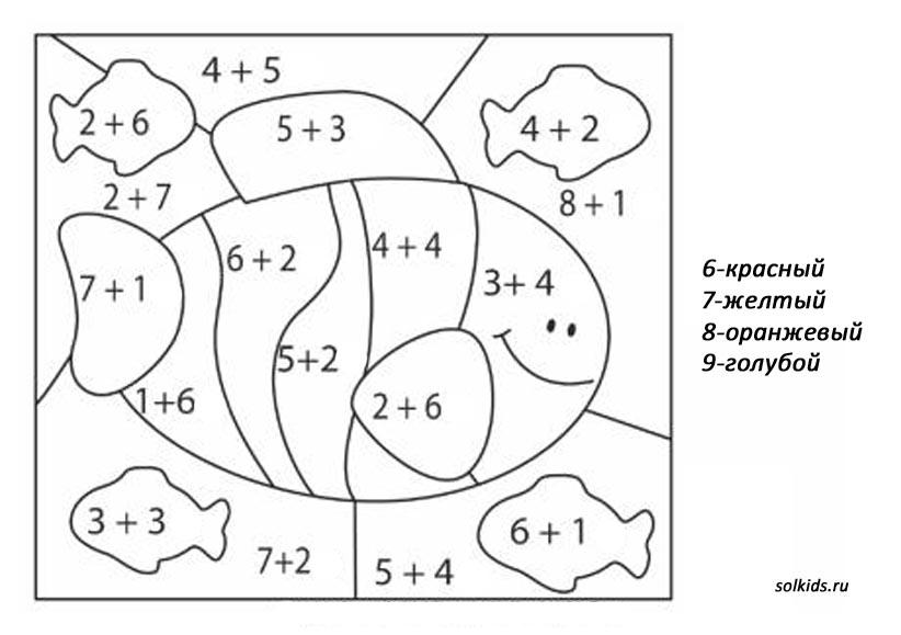 Математические раскраски в пределах 5 распечатать 121