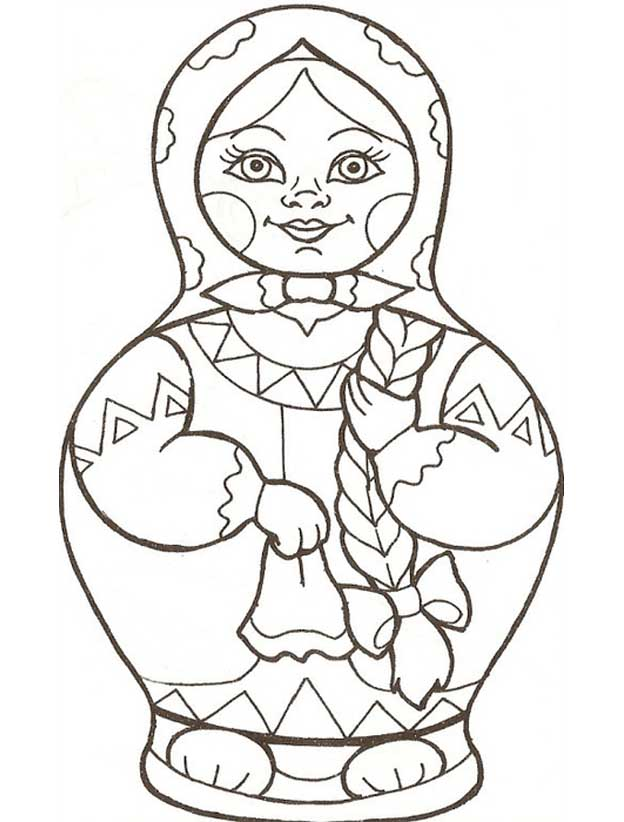 Матрешка раскраска для детей 3-4 лет