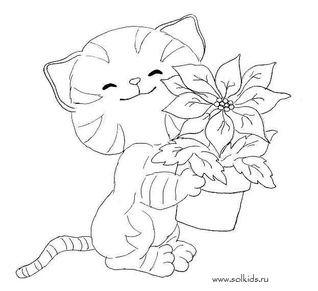 Раскраска Кошка и котята