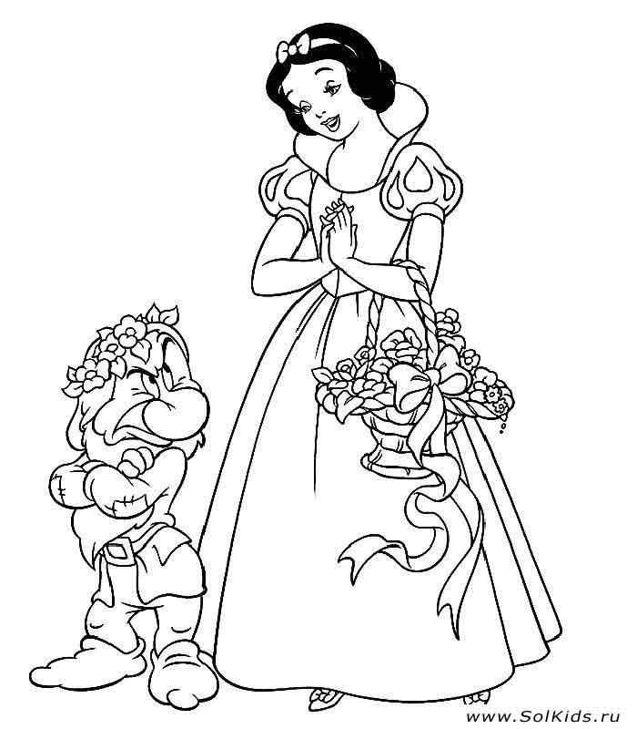 Раскраска с принцессой для детей 3 года