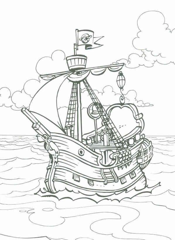 Раскраска корабль пиратский