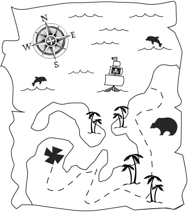 Раскраска карта пирата