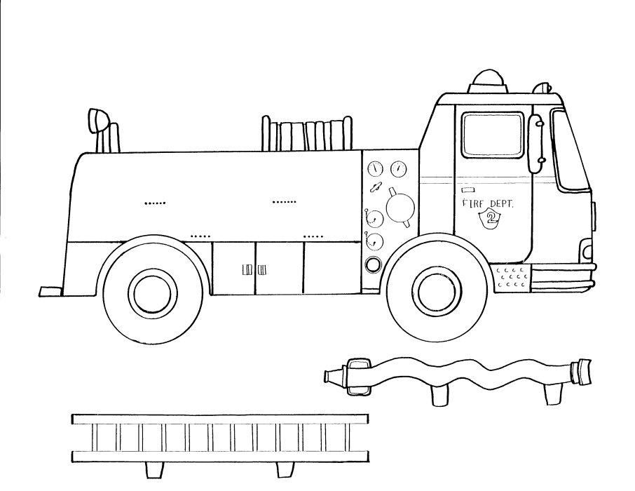 Раскраска Пожарная машина распечатать бесплатно