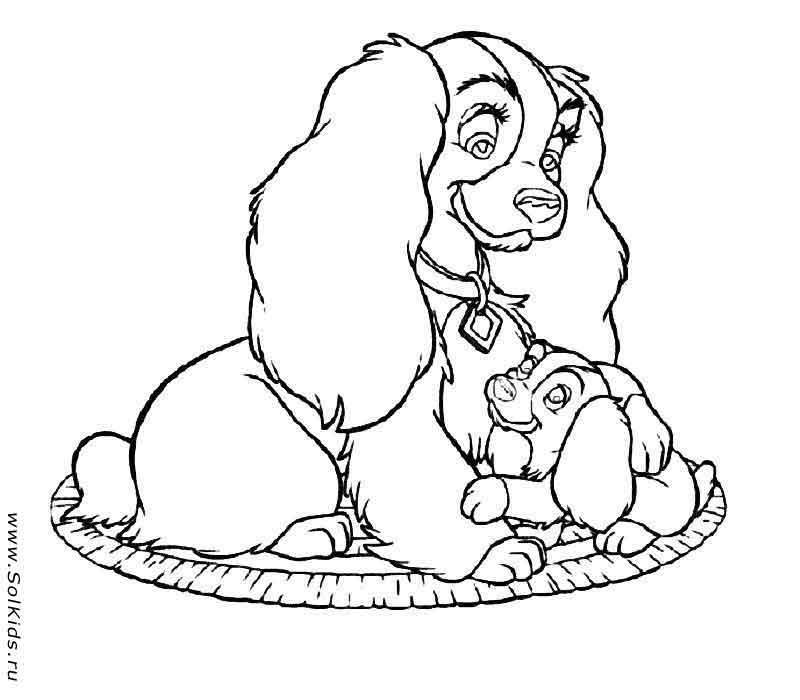 раскраска собака и щенки для детей распечатать бесплатно для