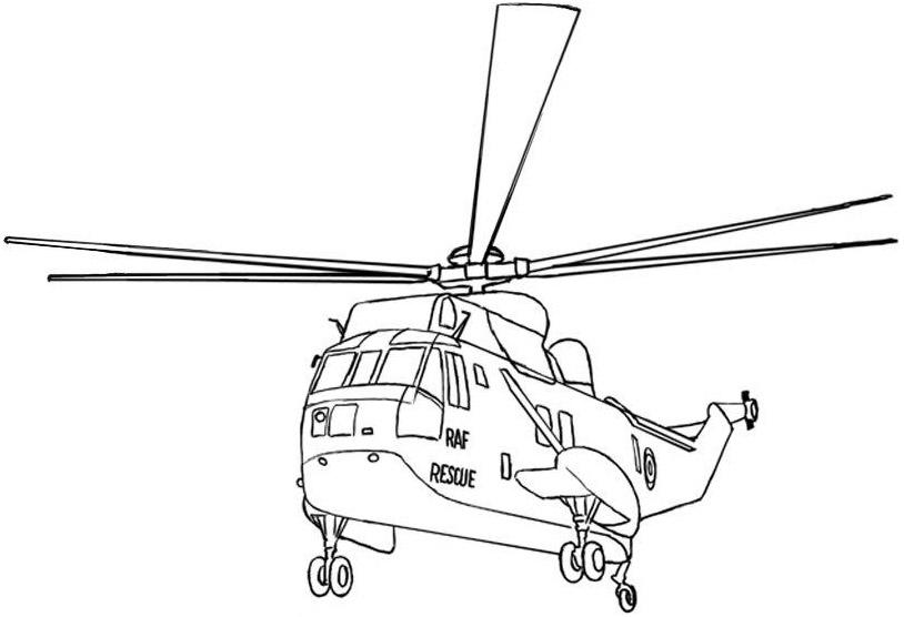 Раскраска пожарного вертолёта