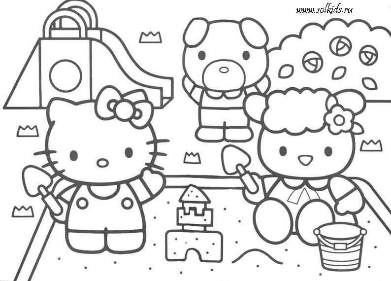 раскраски хелло китти Hello Kitty для девочек распечатать