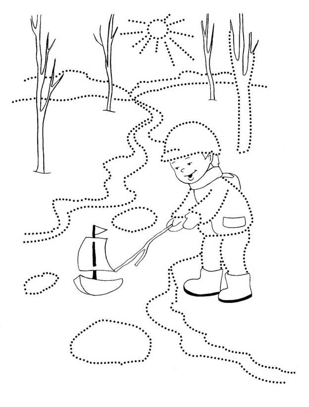 Картинки о весне для детей черно белые